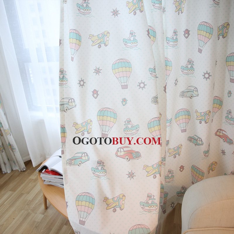 Beige Patterned Cute Pinch Pleated Custom Kids Curtains