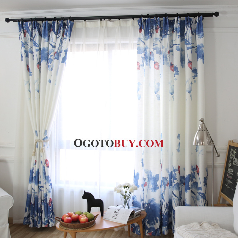 Blue and White Floral Beautiful Floor to Ceiling Window Curtains
