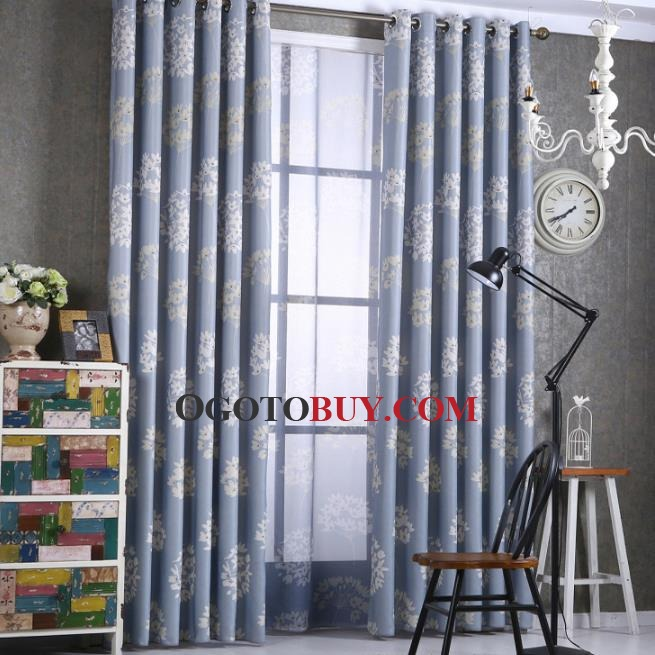 Blue Dandelion Beautiful Floor to Ceiling Balcony Curtains