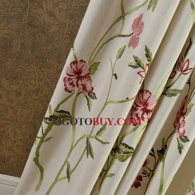 Beige Flower Beautiful Pinch Pleated Long Embroidered Curtains