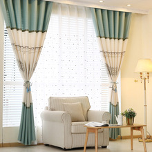 Beige and Sage Green Patterned Linen/Cotton Blend Curtains