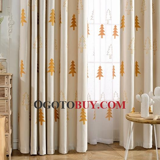 ... Beige Cute Elegant Christmas Curtains For Kids Room ... Part 96