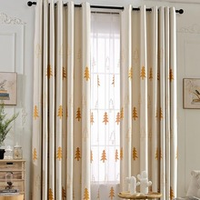Beige Cute Elegant Christmas Curtains for Kids Room