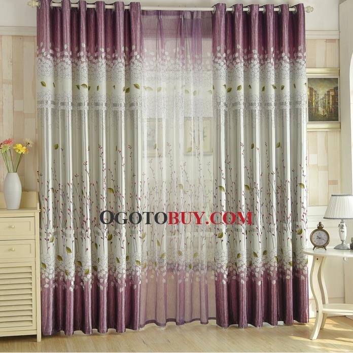 Purple and Silver Gray Leaf Elegant Room Divider Curtains Buy