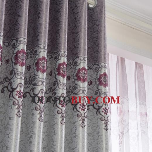 Cheap Silver Gray Modern Jacquard Floral Bedroom Curtains