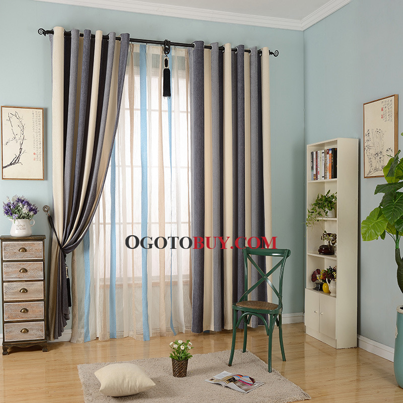 Colorful Chenille Thermal Striped Modern Bedroom Curtains