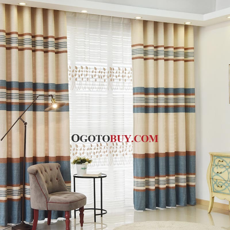 Affordable Colorful Striped Thermal Curtains