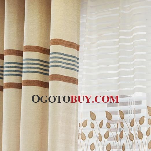Affordable Colorful Striped Funky Chenille Thermal Curtains