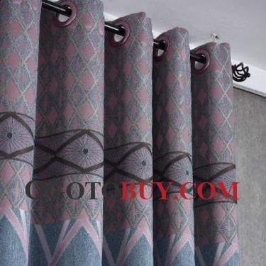 Blue Mediterranean Geometric Custom Bedroom Curtains