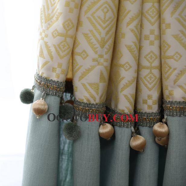Yellow Cool Linen/Cotton Blend Living Room Curtains