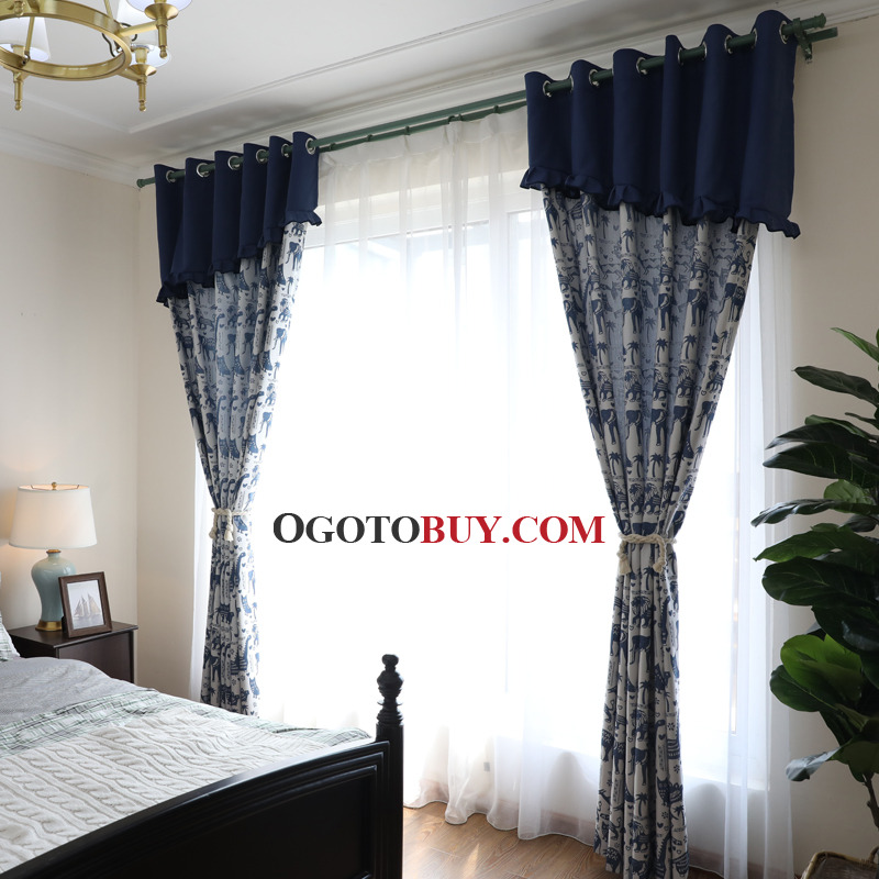 Navy Blue Animal Jacquard Kids Mediterranean Curtains