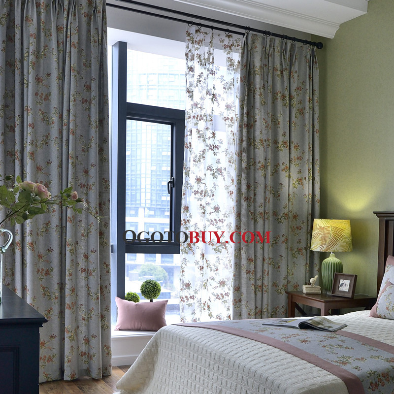 ... Blue Chic Floral Shabby Chic Curtains For Bedroom. Loading Zoom