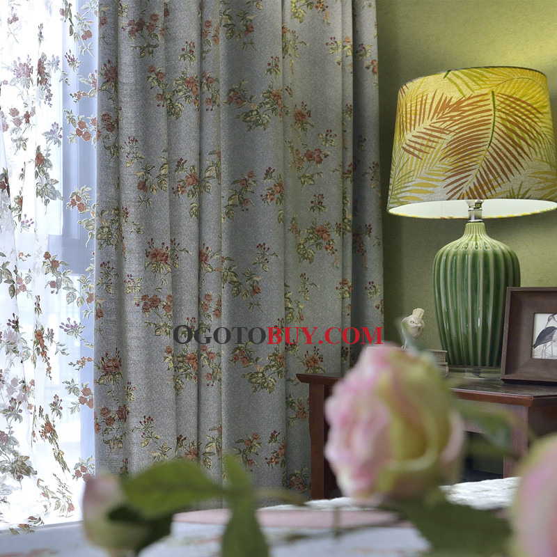 Blue Chic Floral Shabby Curtains For Bedroom