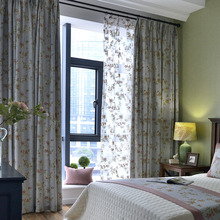 Blue Chic Floral Shabby Chic Curtains for Bedroom