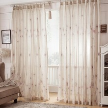 Neutral Floral Print Beautiful Living Room Curtains