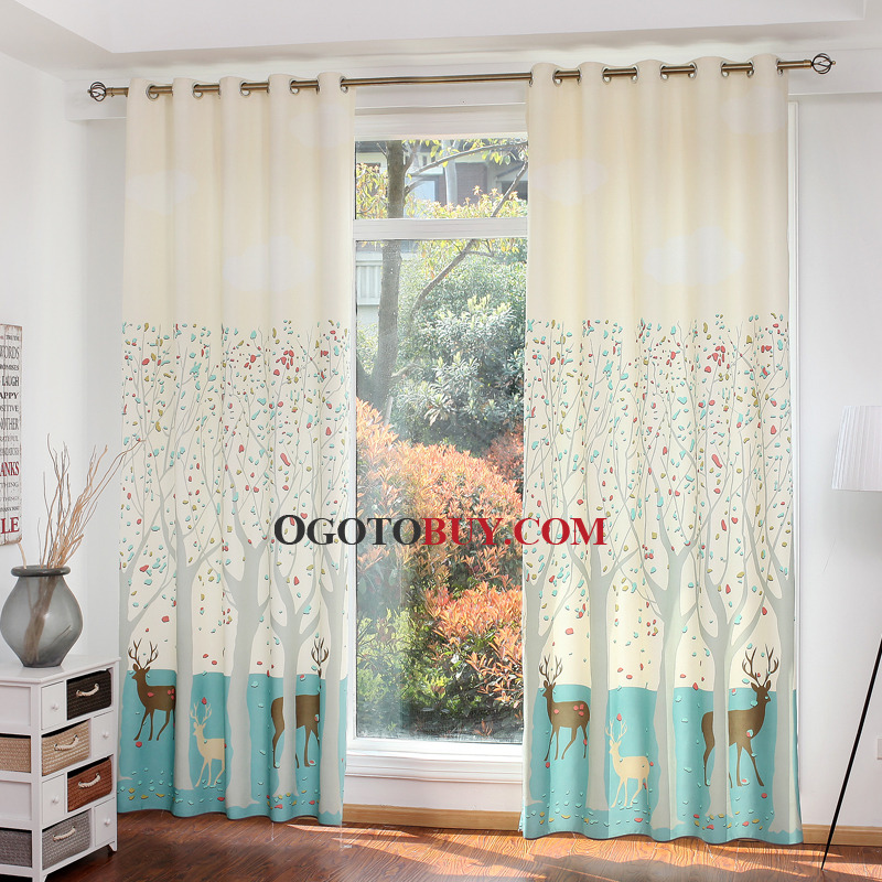 Beige Cute Animal Ready Made Kids Curtains