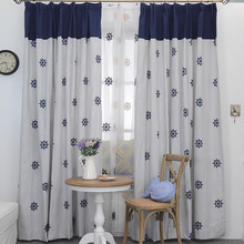 Blue Nautical Embroidery Mediterranean Curtains for Boys