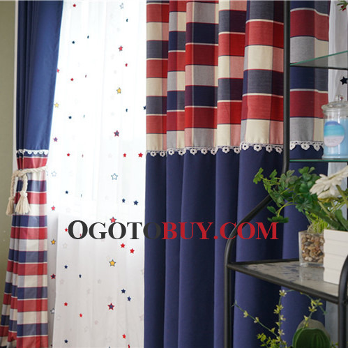 Navy Plaid Custom Modern Curtains for Bedroom