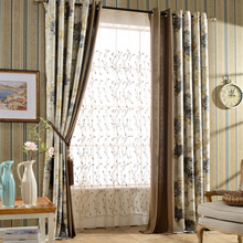 Light Coffee Linen Rustic Floral Country Curtains