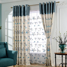 Beige and Blue Linen/Cotton Blend Country Curtains