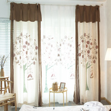 Beige and Coffee Bird and Tree Patterned Country Curtains