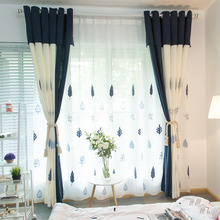 Navy and Ivory Linen Tree Patterned Country Curtains
