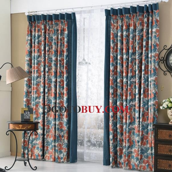 Blue Waverly Polyester Vintage Curtains