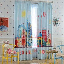 Blue Cartoon Patterned Funky Kids Curtains