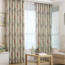 Beige Happy Tree Painted Blackout Thick Curtains for Living Room