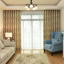 Thick Light Brown Geometric Long Striped Bedroom Curtains
