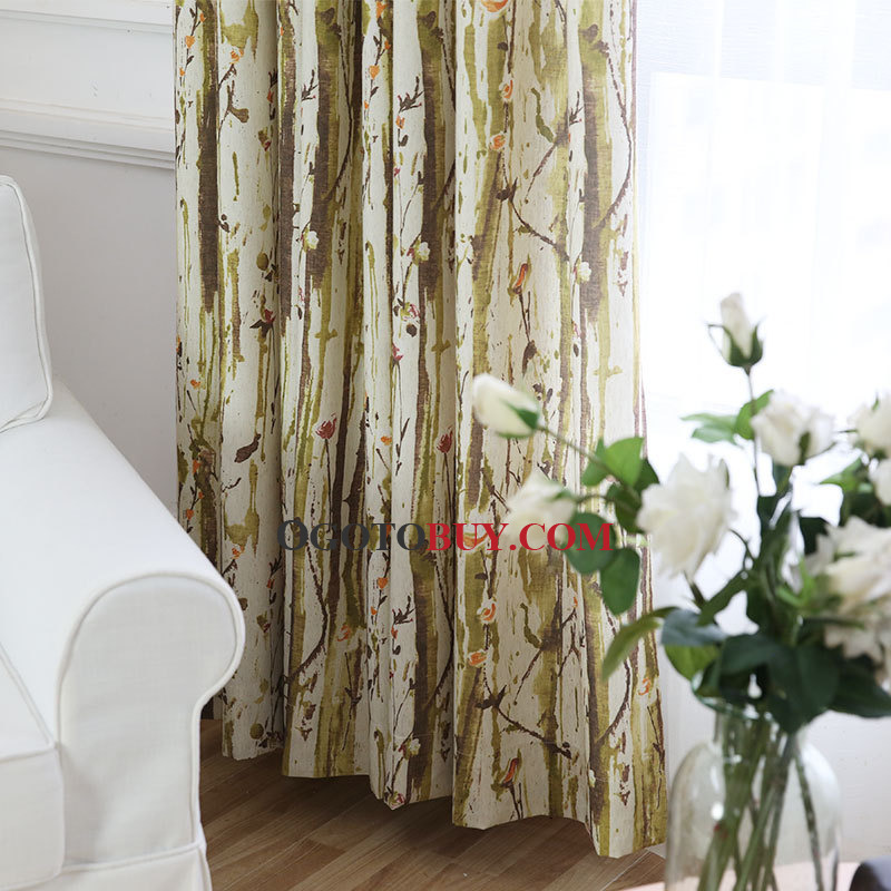 Fresh Green Liana Printed Window Curtains For Living Room