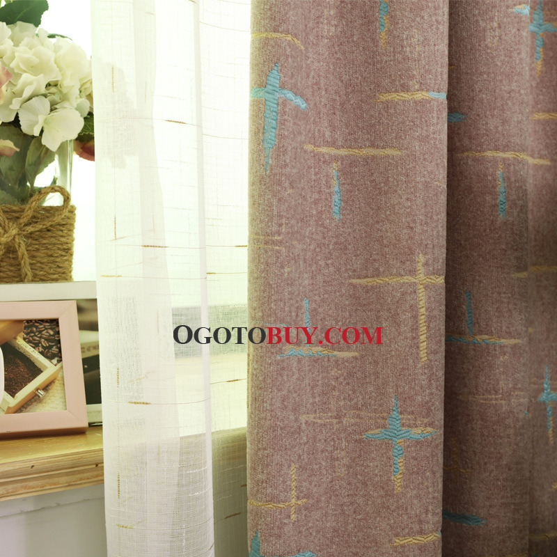 Modern Purple Cross Jacquard Chenille Bedroom Curtains