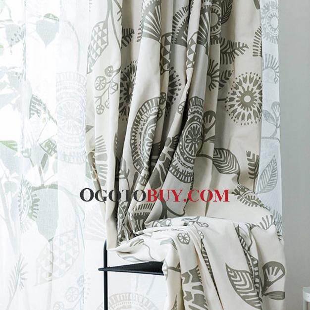 Fresh Light Green Floral Printed Curtains for Bedroom