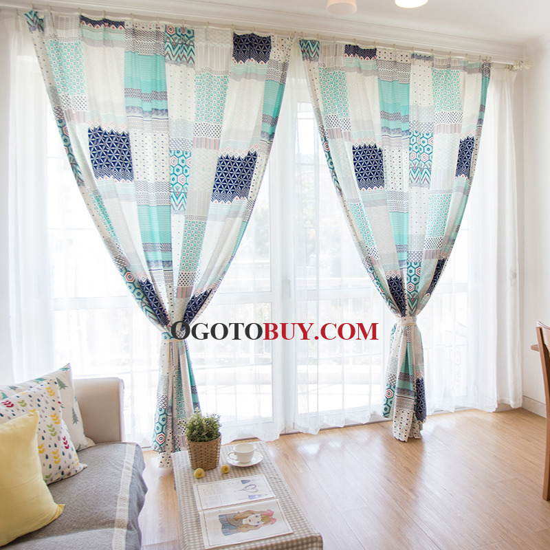 Fresh Geometric Printed Long Curtains