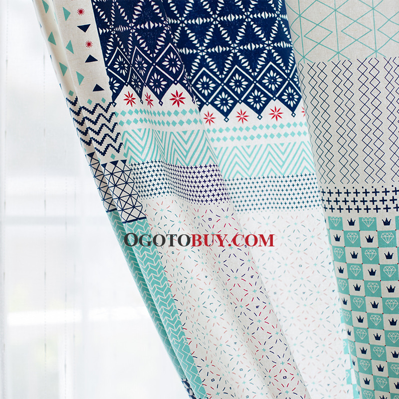Fresh Geometric Printed Extra Long Curtains for Bedroom