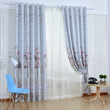 White Floral Duplex Printing Polyester Blackout Curtains for Children's Room