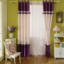 Simple Purple and Pink Floral Thick Blackout Living Room Curtains