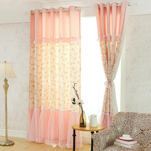 Dreamy Pink Floral and Lace Joint Window Curtains for Kids Room