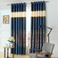 Contemporary Blue Floral Embroidery Linen Bedroom Curtains