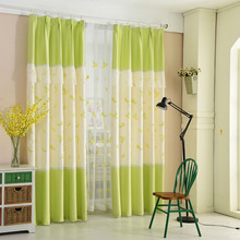 Fresh Green and Yellow Floral Embroidery Window Curtains