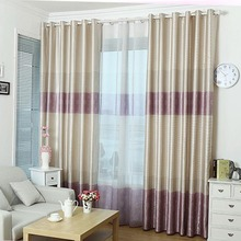Simple Purple and Beige Striped Polyester Bedroom Curtains