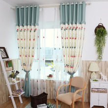 Cute Blue and White Embroidery Floral Kids Curtains