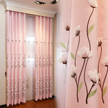 Romantic Pink Floral Embroidery Polyester Window Curtains