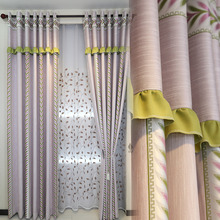 Modern Blackout Cotton/Blend Striped Window Curtains For Living Room