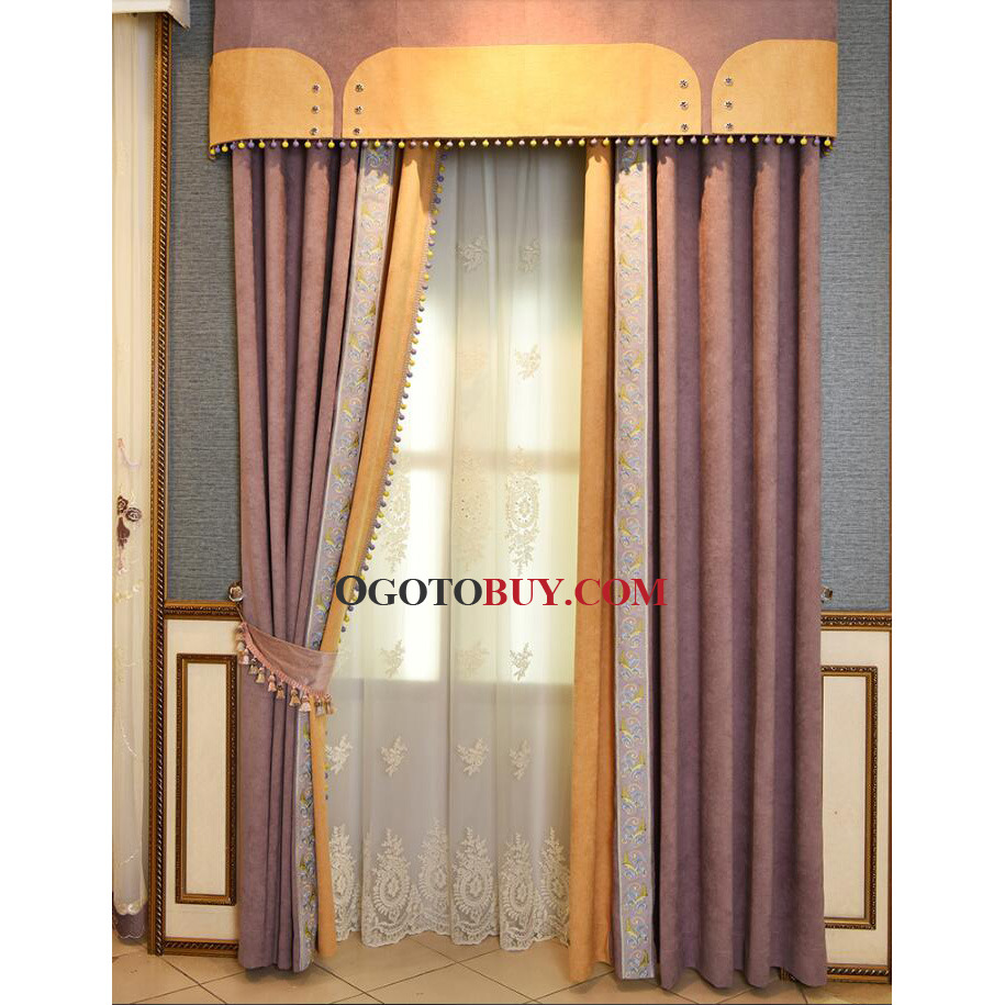 European Purple Embroidery Poly Cotton Blackout Curtains For