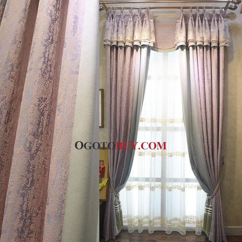 Modern Pink Lace Chenille Thick Ready Made Blackout Curtains For ...