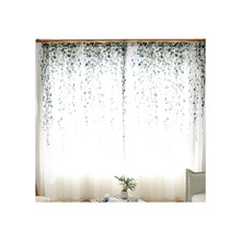 White Custom Fresh Poly Cotton Blend Green Leaf Patterned Window Curtains