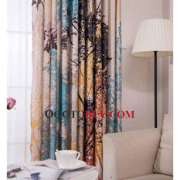 Colorful Rustic Tree Patterned Beautiful Curtain