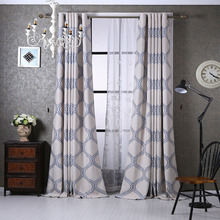 Blue Geometric Patterned Modern Curtains for Windows