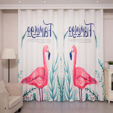 Decorative White Flamingo Patterned Beautiful Curtains